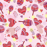 Seamless pattern of drawing doodle hearts Stock Photo