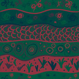 Seamless pattern with drawing original green Royalty Free Stock Images