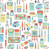 Seamless pattern with drawing and painting tools Stock Image