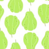 Seamless pattern with drawing of a rare fruit - chayote, mexican cucumber royalty free illustration