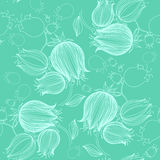 Seamless pattern with drawing of tulips in violet color. Good fo Royalty Free Stock Photo