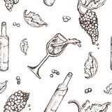 Seamless pattern drawing on a white background bottle and wineglass wine with spills. The vine  berries. Seamless pattern drawing on a white background bottle Royalty Free Stock Images
