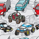 Seamless pattern of drawings of cars Stock Photography