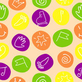 Seamless pattern with drawings on the circles Stock Photography