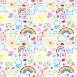 Seamless pattern, drawn in a childlike style Stock Photos