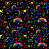 Seamless pattern, drawn in a childlike style Stock Photo