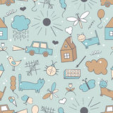 Seamless pattern, drawn in a childlike style. Royalty Free Stock Photography