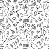 Seamless pattern, drawn in a childlike style Stock Photography