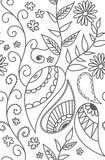 Seamless pattern of drawn contours of leaves, flowers, curls. ba royalty free illustration