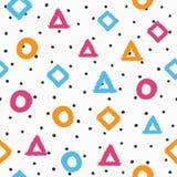 Seamless pattern drawn by hand. Irregular polka dot and repetitive geometric shapes. Sketch, watercolour, grunge, graffiti. Gray, black, orange, purple, blue royalty free illustration