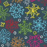Seamless pattern of drawn by hand snowflakes. Vector eps 10 Stock Photography
