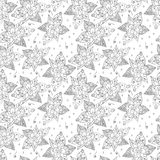 Seamless pattern from the drawn outline. Abstract flowers vector illustration