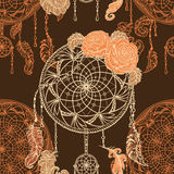 Seamless pattern with dream catcher, roses, leaves and feathers. Royalty Free Stock Photography