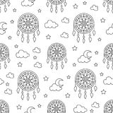 Seamless pattern with dream catchers. Elements - dreamcatcher, star, moon. Vector illustration. Cute repeated texture. With dream catchers for packaging, book Stock Image