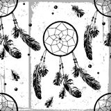 Seamless pattern with dream catchers and feathers Royalty Free Stock Image