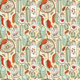 Seamless pattern with dream catchers and glass flasks Royalty Free Stock Image