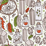 Seamless pattern with dream catchers and glass flasks Stock Photos