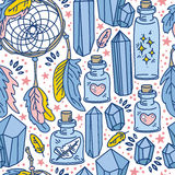 Seamless pattern with dream catchers and glass flasks Stock Image