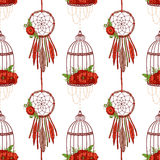 Seamless pattern with dream cathers, poppies in cages. Stock Photo