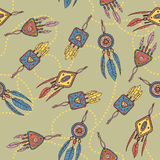 Seamless pattern with dreamcatcher, feathers and beads. Royalty Free Stock Photos