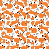 Vector seamless pattern with foxes. Seamless pattern with dreaming foxes Stock Photography
