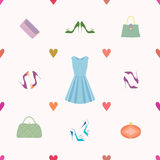 Seamless pattern of dress, shoes, handbags, hearts. Vector seamless pattern of dress, shoes, handbags in retro style. Ideal for cards, wrapping paper and Royalty Free Stock Photography
