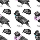 Seamless pattern with dressed up starling Royalty Free Stock Photography