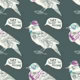 Seamless pattern with dressed up starling Royalty Free Stock Photos