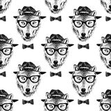 Seamless pattern dressed up wolf Stock Image
