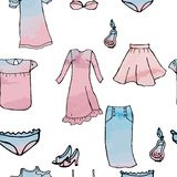 Seamless pattern dresses skirts blouses perfume shoes stock illustration