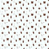 Seamless pattern with drink tea and coffee cups. Coffee break tiling background. Eps 10 Stock Illustration