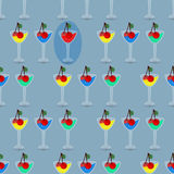 Seamless pattern with drinking glasses. concept. Of recreation and entertainment. illustration. use a smart phone, website, printing, decorating etc Stock Photography