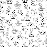 Seamless pattern drinking of tea monochrome Stock Photos