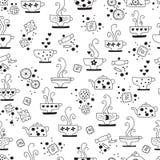 Seamless pattern drinking of tea monochrome Stock Photos