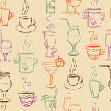 Seamless pattern with drinks. Abstract vector background stock illustration