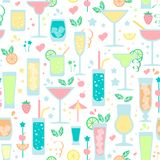 Seamless pattern with drinks different types. Flat style vector illustration. Suitable for wallpaper, wrapping, textile or bar menu design vector illustration