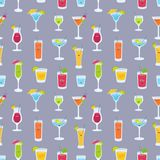 Seamless pattern with drinks in glasses with cute funny faces. Backdrop with fruit juices, alcoholic cocktails stock illustration