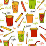Seamless pattern with drinks Royalty Free Stock Photos
