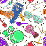 Seamless pattern of drum set Royalty Free Stock Photo