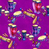 Seamless pattern with drums and percussion in watercolor style and decorative geometric elements on purple pink. Background. Hand draw illustration royalty free illustration