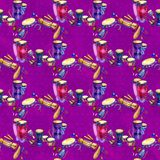 Seamless pattern with drums and percussion in watercolor style and decorative geometric elements on purple pink. Background. Hand draw illustration vector illustration