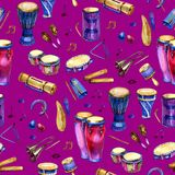 Seamless pattern with drums and percussion in watercolor style and decorative geometric elements on purple pink. Background. Hand draw illustration royalty free stock photo