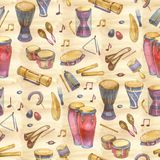 Seamless pattern with drums with splashes in watercolor style and decorative geometric elements on white background. Hand draw illustration vector illustration