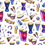 Seamless pattern with drums in watercolor style on white background. Percussion musical instruments. Colorful design for. Retro party in memphis style vector illustration