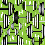 Seamless pattern dumbbells on green background Royalty Free Stock Photography