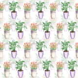 Seamless pattern of the duobly tulips in a bucket and spathiphyllum Stock Photo
