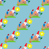 Seamless pattern with dwarf in the garden Stock Images