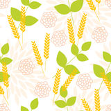 Seamless pattern with ears of wheat. Floral seamless pattern with ears of wheat. Bitmap picture with additional vector file Stock Photography
