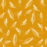 Seamless pattern with ears of wheat. Hand drawn bakery backgroun Royalty Free Stock Photo