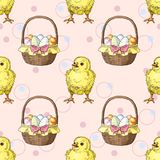 Seamless pattern with easter baskets with eggs and little chicks. Greate holiday background Royalty Free Stock Photos